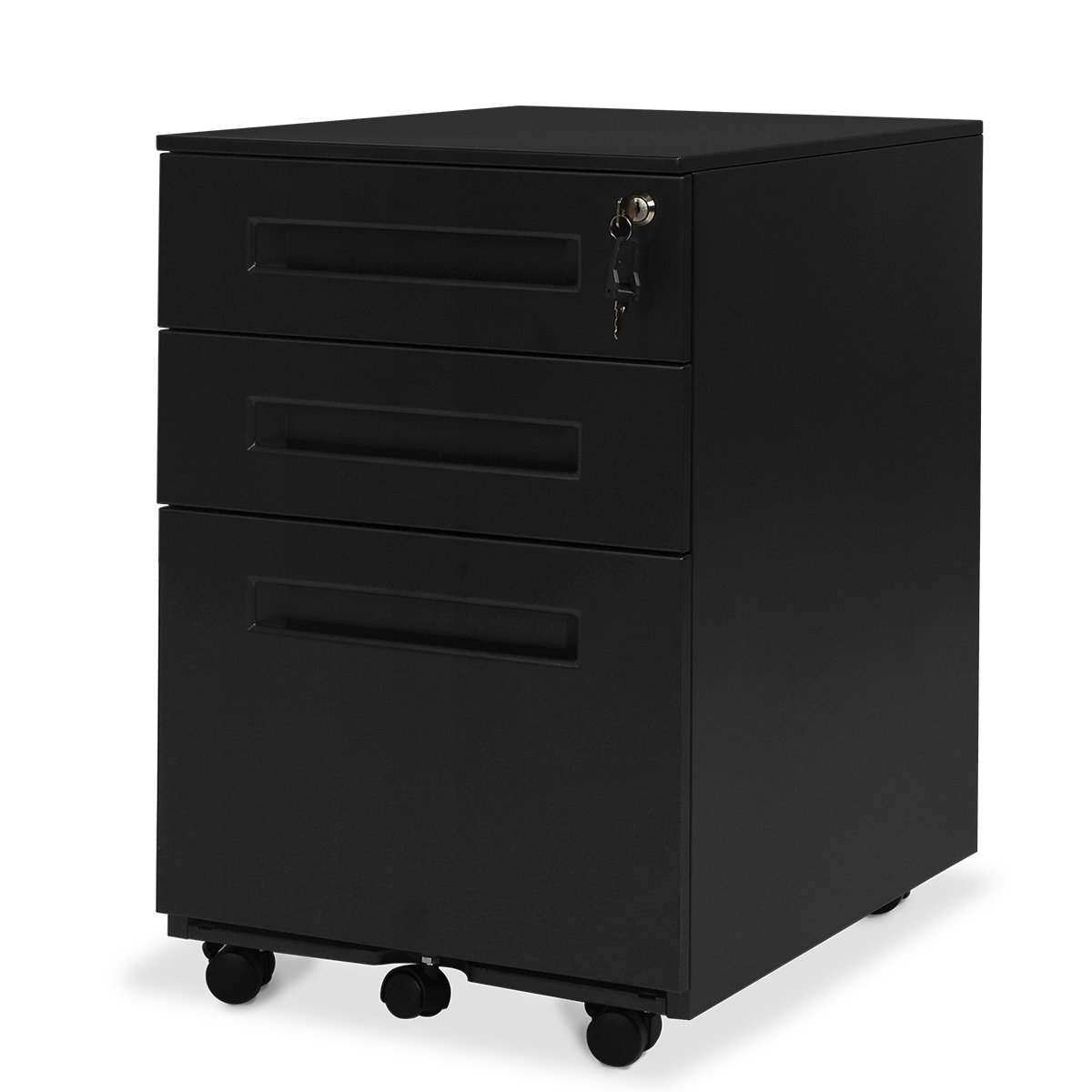 DEVAISE Mobile 3 Drawer Filing Cabinet/Pedestal for A4 ; All-Steel, Lockable, 60cm H, Black