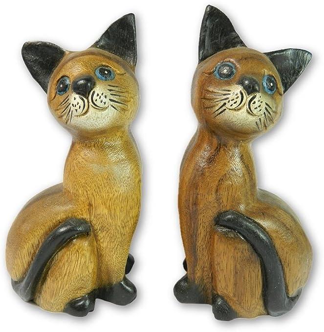Gato de madera talla – par de tallado a mano Hucha con gatos, gatitos: Amazon.es: Jardín