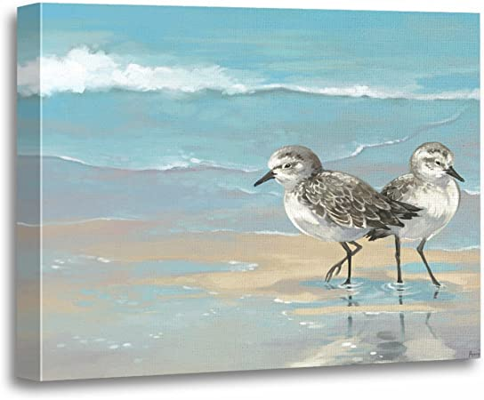 Coastal Decor Sandpiper Bird Watercolor Painting Canvas Print Sandpiper Print,Christmas Gift Anna Maria Island Beach Art,Beach Wall Art