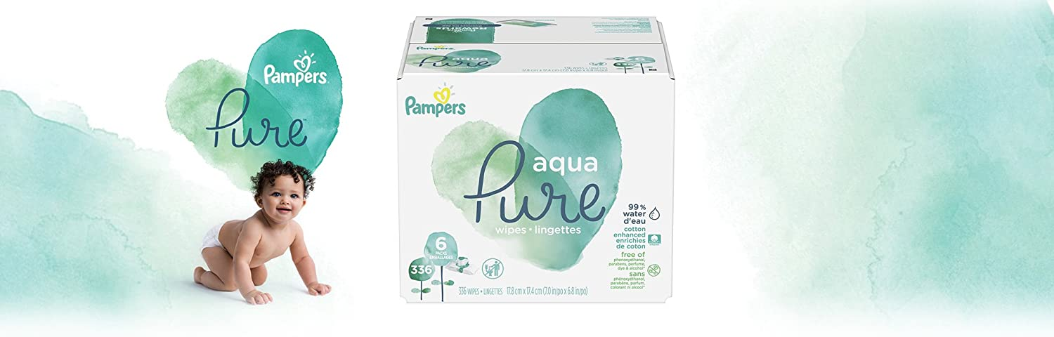 Baby Wipes, Pampers Aqua Pure Sensitive Water Baby Diaper Wipes, Hypoallergenic and Unscented, 336 Count