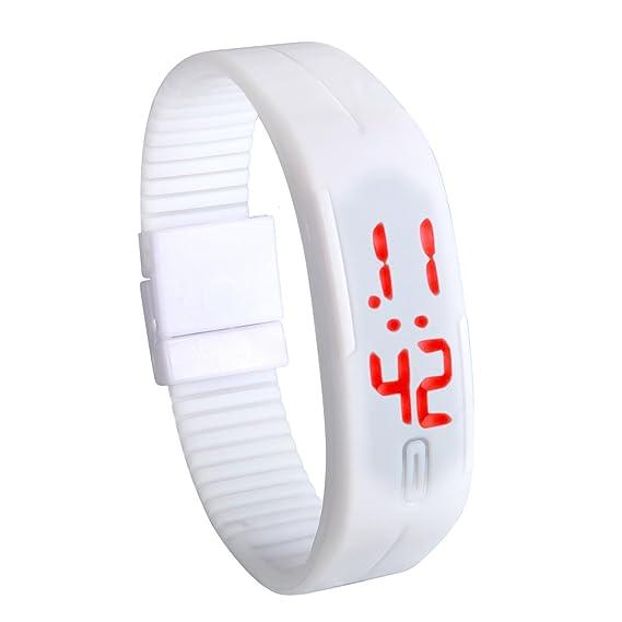 7a7aa154b2d4 Lancardo Reloj Electrónico con Luces de LED Correa de Silicona Pulsera  Digital Ajustable Multifunción Formato 12