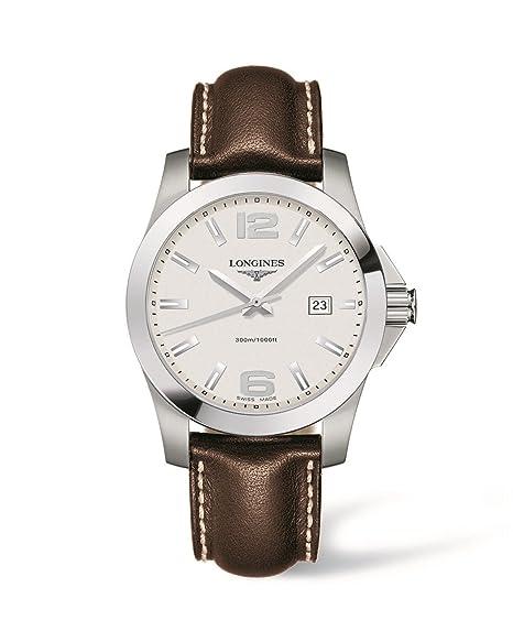 Longines Reloj Analógico para Hombre de Cuarzo con Correa en Cuero L37594765: Amazon.es: Relojes