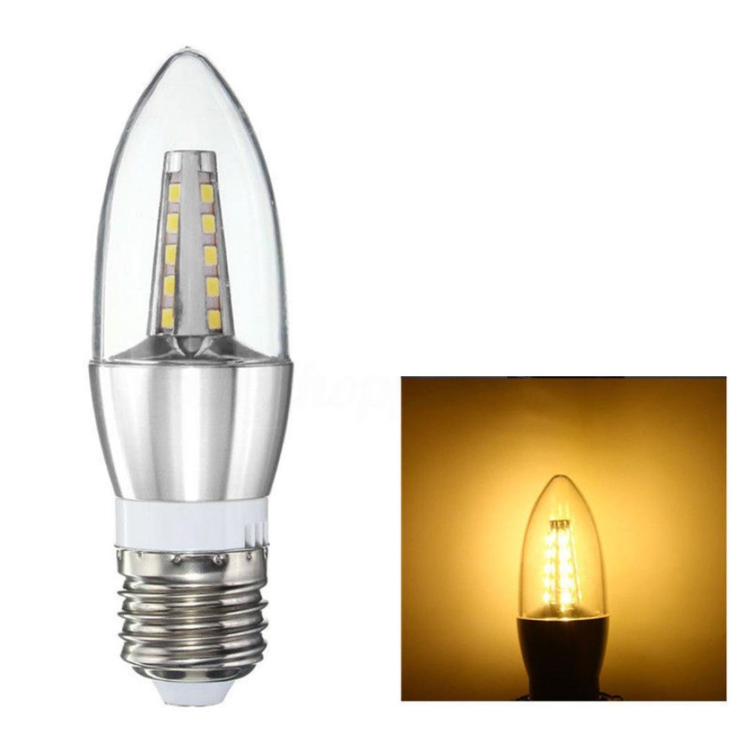 Led filament candle light bulbharrystore e27 2835smd candelabra base lampc35 torpedo shape bullet tip incandescent replacement bulb silver