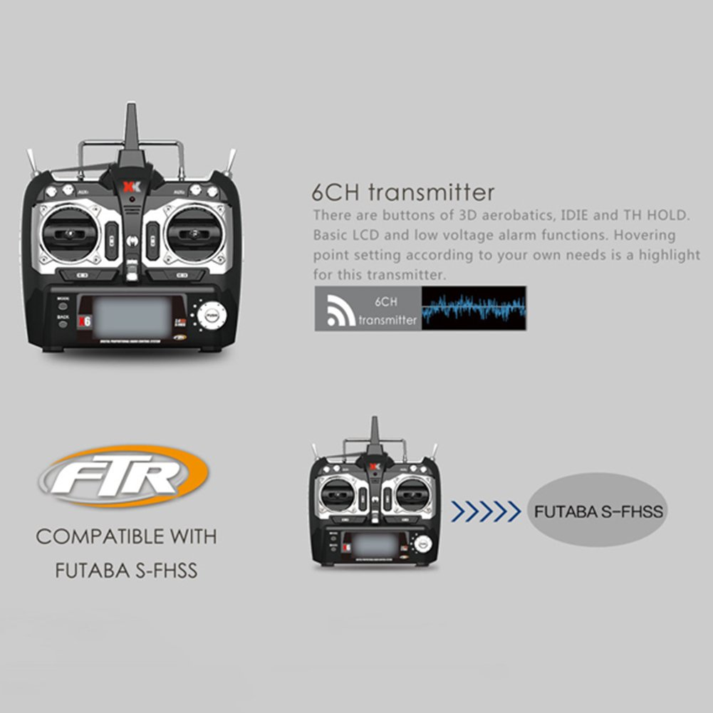 Ocamo RC RC RC Drone BNF sin transmisor 6CH Motor sin escobillas 3D Sistema de helicoacute;ptero Compatible con FUTABA S-FHSS 0063a9