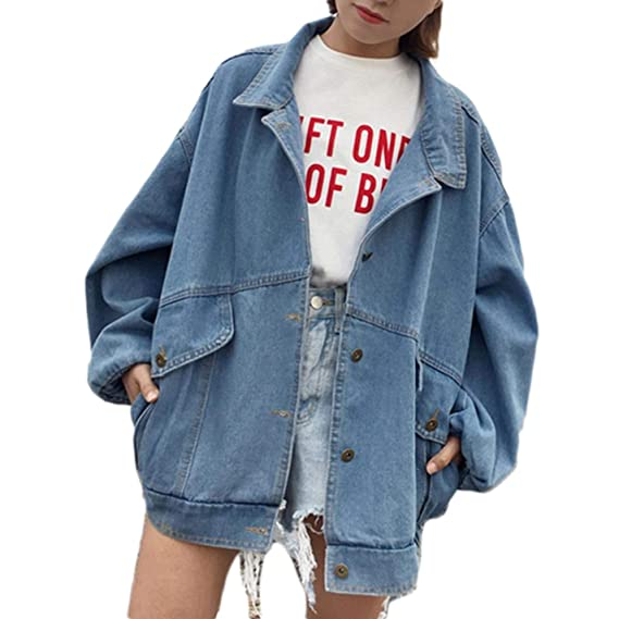 Harajuku Denim Jackets Coat Womens Patch Long Sleeve Bomber Loose Jacket at Amazon Womens Coats Shop