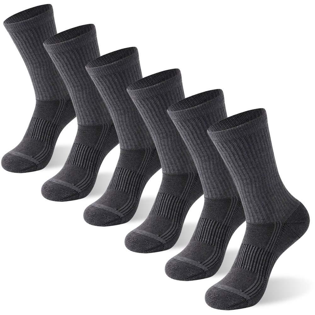 FOOTPLUS Men and Women Crew Copper Antibacterial Antimicrobial Anti Odor Moisture Wicking Breathable Running Hiking Socks, 6 Pairs Dark Grey, Large by FOOTPLUS