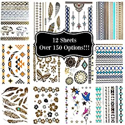 Lola Tatt 12 Premium Sheets of Metallic Temporary Flash Tattoos Gold, Silver and Multi-Colored.