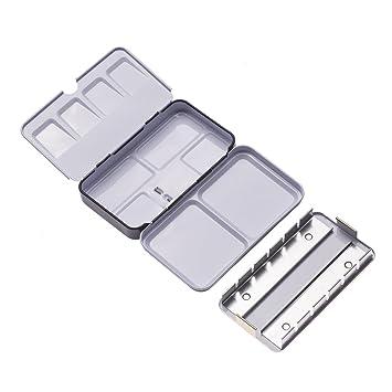 OFKPO Caja de Acuarela Vacío Metal con 12 Medias Bandejas Transparentes