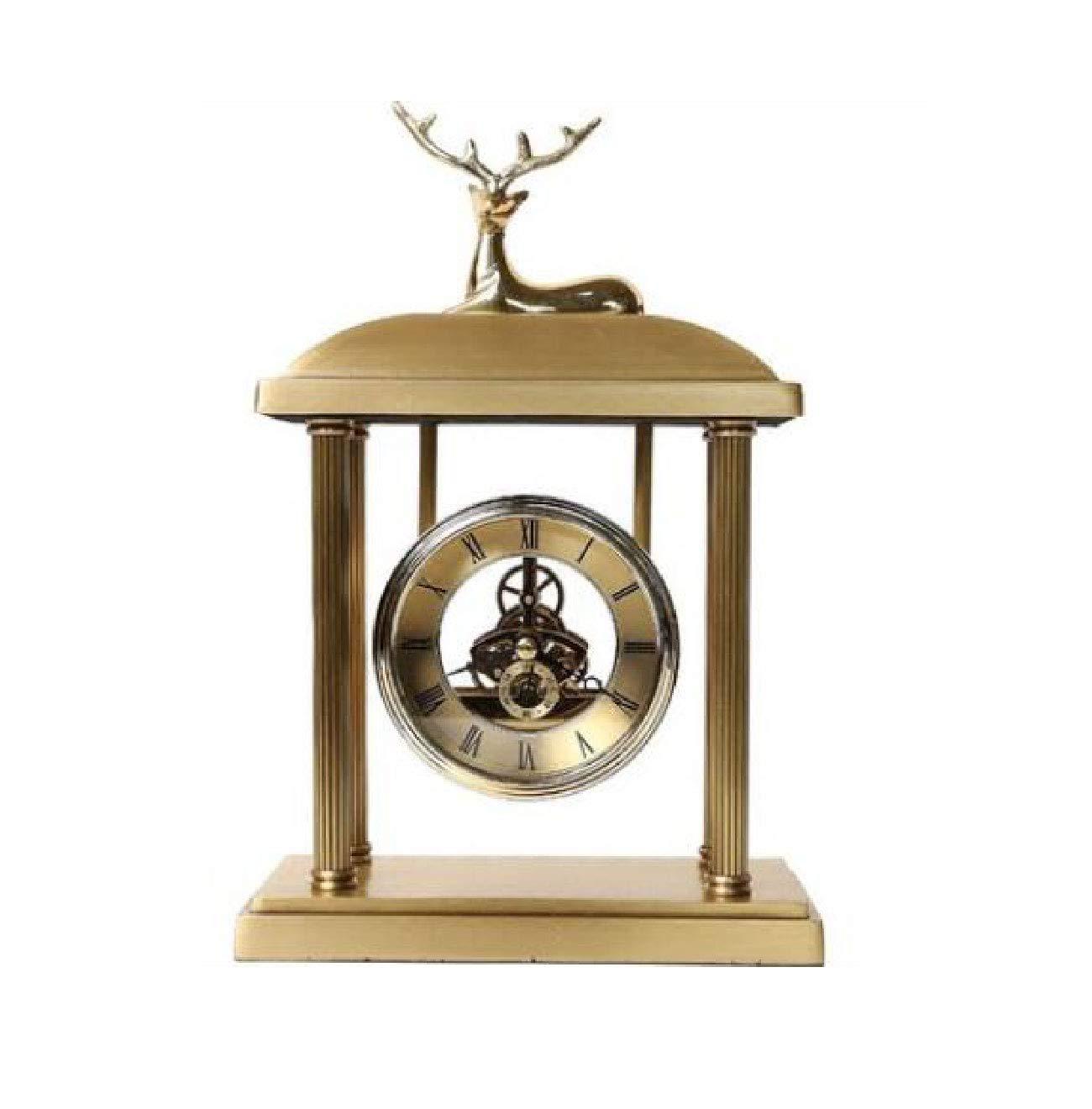 Old handmade European Exquisite Brass Classical Mechanical Deer work Clock