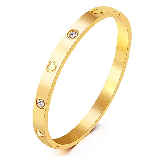 2146c4729e7 MVCOLEDY Jewelry Yellow Gold Plated Bangle Bracelet Set in Heart and Stone  Stainless Steel with Crystal