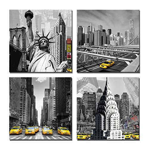 Yin Art 4-Panel Canvas Print Wall Art Set - New York City Historic Buildings Statue in Black and White - Yellow Taxis in Selective Color, 12x12 Inch (Art Canvas Building)