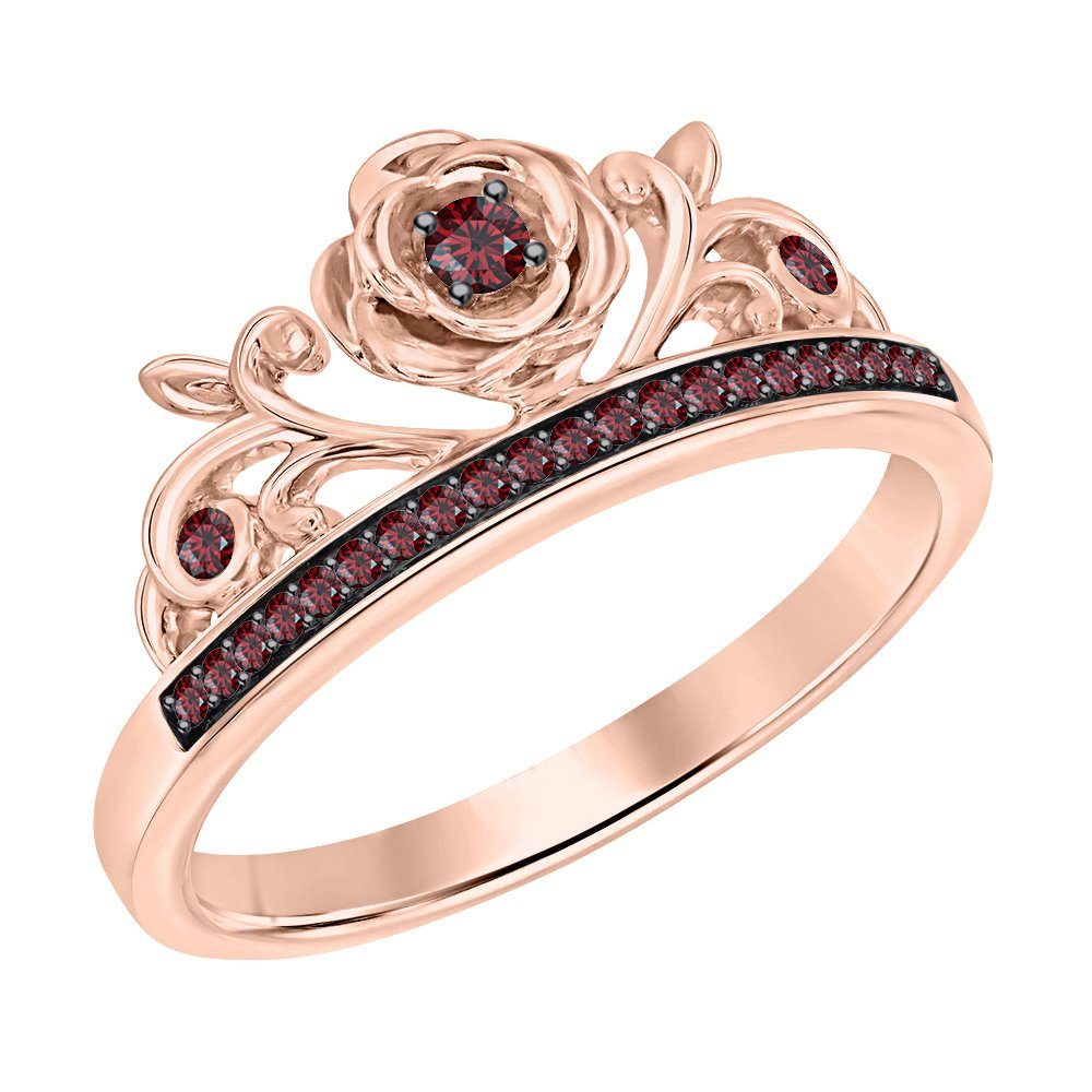 SVC-JEWELS Round Cut Red Garnet 14K Rose Gold Plated Rose Tiara Princess Ring