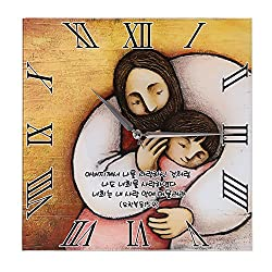 Jesus and Virgin Mary Catholic Wall Clock - Happy and Peace be with you in the House - Baby Jesus Church Religious Picture Frames (Jesus Loves Me)