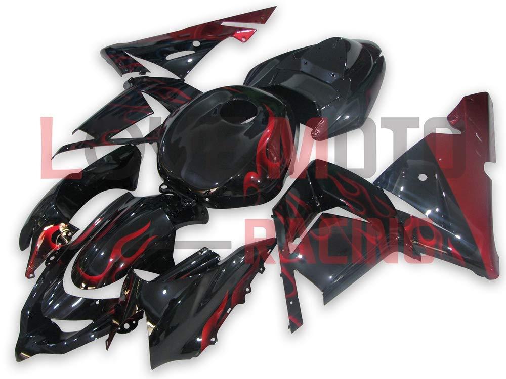 LoveMoto ブルー/イエローフェアリング カワサキ kawasaki ZX-10R ZX10R Ninja 2004 2005 04 05 ZX 10R ABS射出成型プラスチックオートバイフェアリングセットのキット ブラック スカーレッド   B07KP6W2Z3