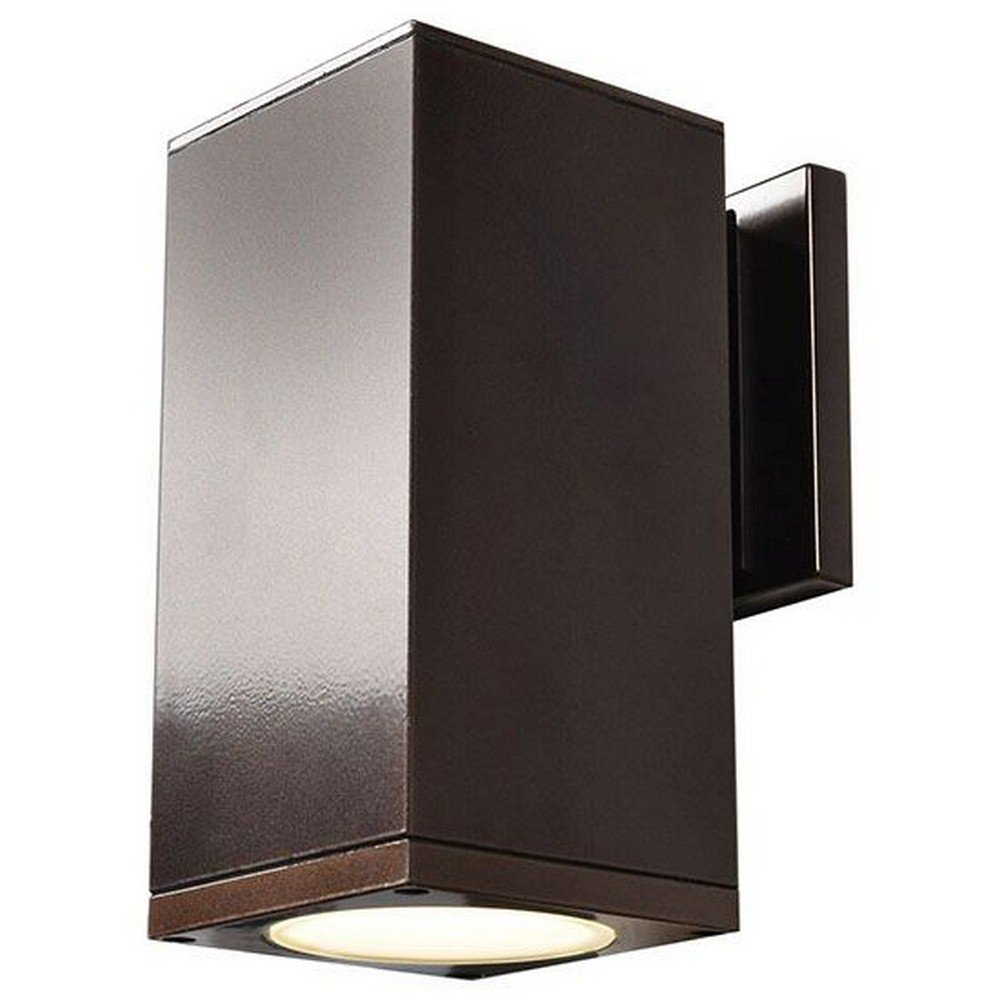 Access Lighting Bayside 8'' LED Outdoor Square Cylinder Wall Fixture - Bronze Finish with Frosted Glass Diffuser