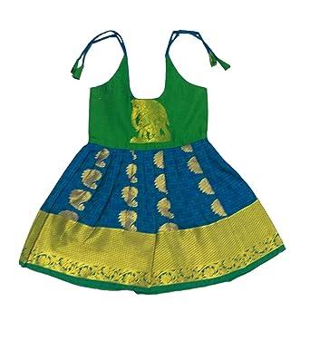 8f08bf9564 Pattu Pavadai Grand Just Born Baby Girl Frock (Peacock Blue): Amazon ...