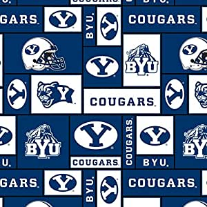 College BYU Bringham Young University Cougars Print Fleece Fabric By the Yard
