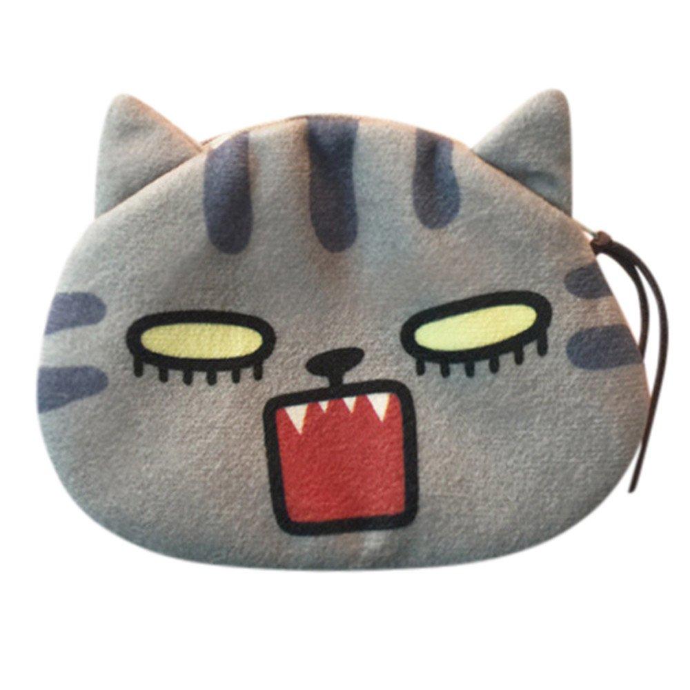 SamMoSon Portamonete borsa donna con portafoglio in pelle e borsa della moneta della ragazza della peluche con stampa fronte di gatto borsa della moneta del gatto della