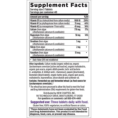 New Chapter Calcium Supplement - Bone Strength Clinical Strength Plant Calcium with Vitamin D3 + Vitamin K2 + Magnesium - 120 ct Slim Tabs