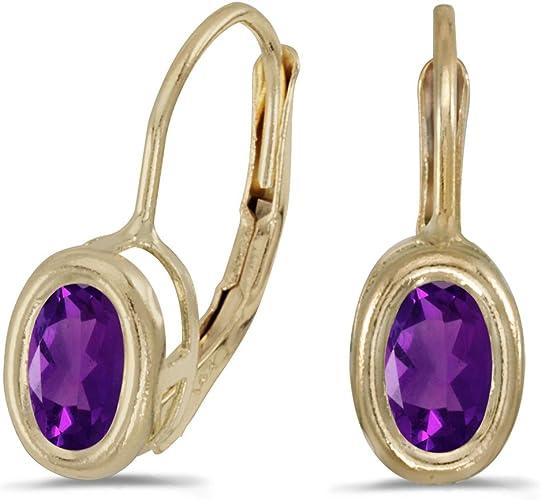 14K Yellow Gold 4mm Round Amethyst Bezel Leverback Earrings