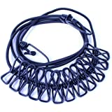 SZM 洗濯ロープ 便利な携帯 ハンガー ストップロープ ハンガー ピンチ付き物干しワイヤーロープ 旅行出張グッズ (黒)