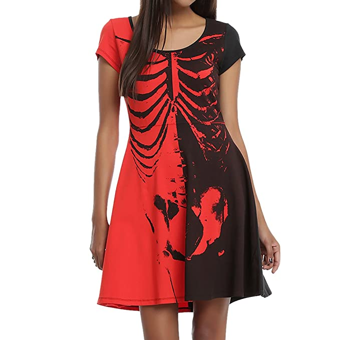 semen Damen mini Dress Selett Halloween Freizeit Tauch Schädel ...