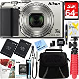 Nikon A900 20MP Longest Slim Zoom COOLPIX WiFi Digital Camera with 4K UHD Video 35x Telephoto NIKKOR Zoom Lens + 64GB Dual Battery Accessory Bundle (Silver)