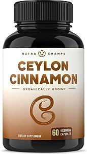 Organic Ceylon Cinnamon Capsules - 1200mg Powder for Healthy Blood Sugar, Joint Support, Anti-inflammatory & Antioxidant Benefits - Made from True Cinnamon Bark from Sri Lanka