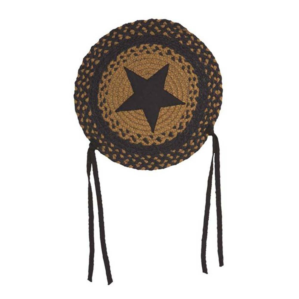 "IHF Home Decor Braided Area Rug Round Chair Cover Pad 15"" New Star Black Design Jute Fabric Set of 4"
