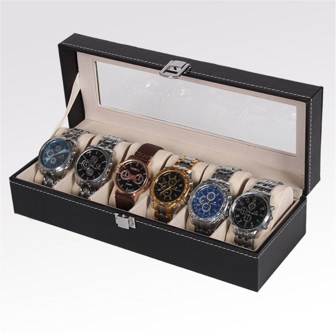 メンズのDower時計ボックスとValet引き出し、6スロット高級時計ケース表示オーガナイザー、カーボンファイバーデザイン – メタルバックルメンズ用ジュエリー腕時計、メンズのストレージホルダーボックスは大ガラストップ B078R184CG