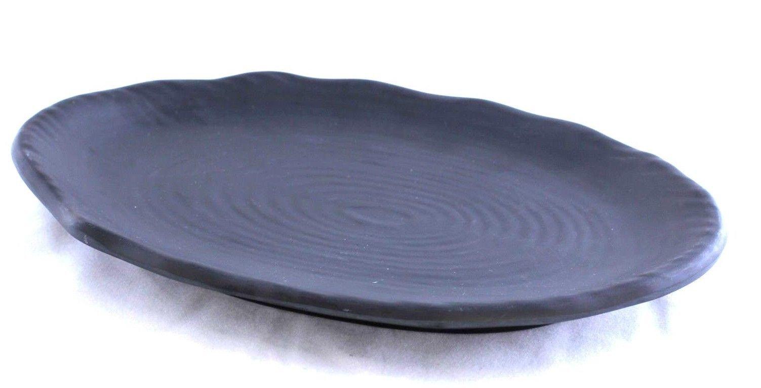 Lucky Star Melamine Oval Plates Sushi Sashimi Appetizer Platter Dishes, 10'' X 6-3/4'' or 12-1/8'' X 7-7/8'', Black (24, 10'' X 6-3/4'')