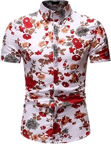 N\P Camisa floral para hombre de verano para hombre, de manga ...
