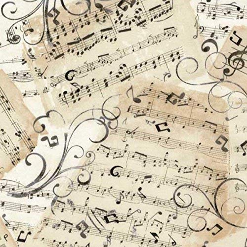 By Timeless Treasures - Timeless Treasures Fabrics Natural Music Novelty Music Sheets
