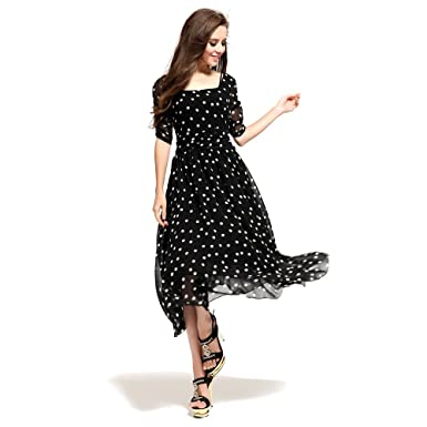 Amazon.com: Maxi Dress Black White Slash Neck Polka Dot Maxi ...