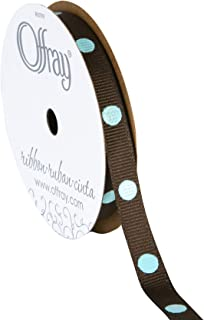 """product image for Offray 467404 3/8"""" Wide Dippy Dots Craft Ribbon, 3 Yards, Brown and Blue Polka Dot Pattern"""