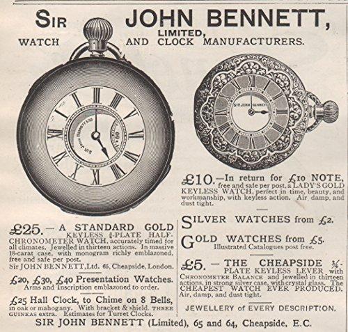 1895 Print Ad John Bennett Lady's Men's Pocket Watches Half Chronometer Keyless