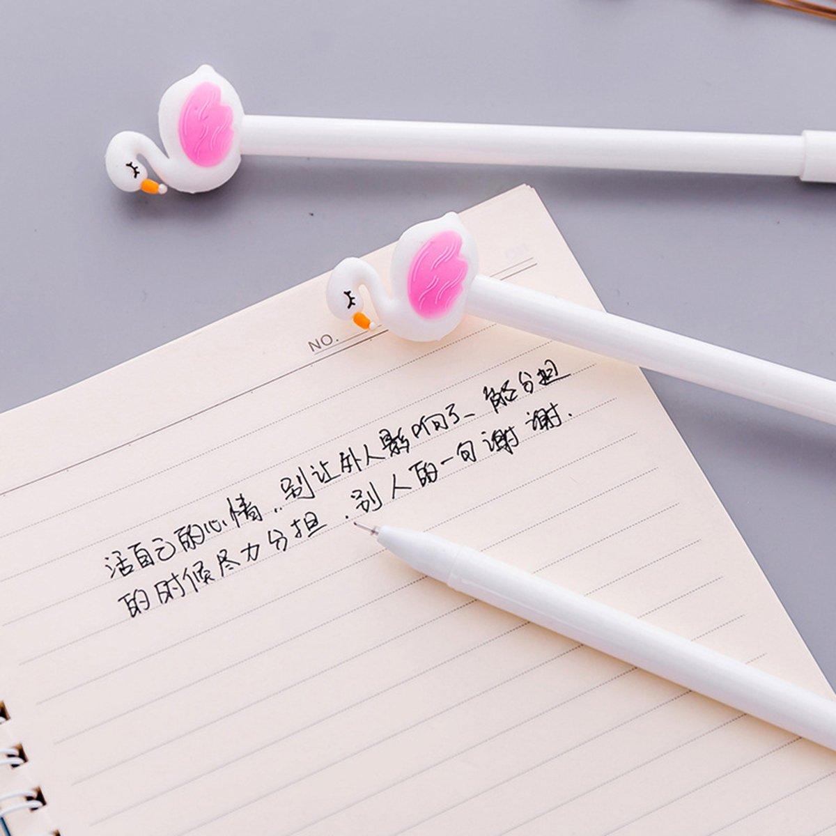 YeahiBaby 10 unids 0.5 mm flamingo bol/ígrafos negro roller gel pluma de tinta oficina de la escuela suministros de escritura blanco