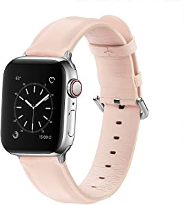 Bands Compatible with Apple Watch Band 38mm 40mm, Genuine Leather Replacement Strap Compatible with iWatch Series 6 5 4 3 2 1 SE Sport, Pink Band with Sliver Adapter