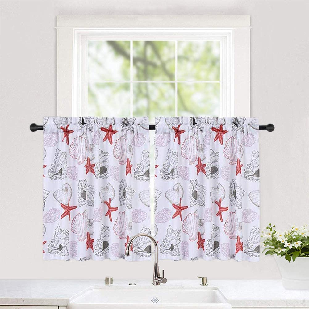 "Haperlare Tier Curtains for Kitchen, Ocean Theme Pattern Short Window Curtains, Starfish Cafe Curtains, Seashell Conch Design Kitchen Window Curtain Sets for Bathroom, 30"" x 24"", Coral/Grey, Set of 2"
