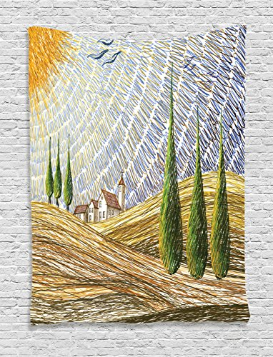 Van Gogh Italian (Tuscan Decor Tapestry By Ambesonne, Van Gogh Style Italian Valley Rural Fields With European Scenery Digital Painting Artsy Print, Bedroom Living Room Dorm Decor, 40 W x 60 L Inches, Multi)