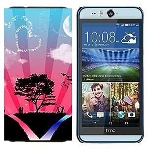 YiPhone /// Prima de resorte delgada de la cubierta del caso de Shell Armor - Corazón Pareja Árbol de amor del cielo Naturaleza Romance - HTC Desire Eye M910x