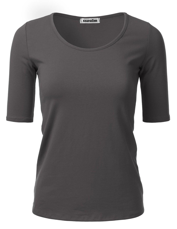 SSOULM Women's 1/2 Sleeve Crewneck Cotton Basic Slim Fit T-Shirt Top CHARCOALGREY 1XL