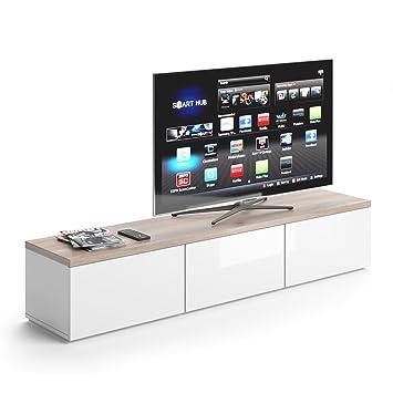 VICCO TV Lowboard Panarai 165cm Weiß   Fernsehtisch Sideboard Weiss Board  Schrank Regal Fernsehschrank