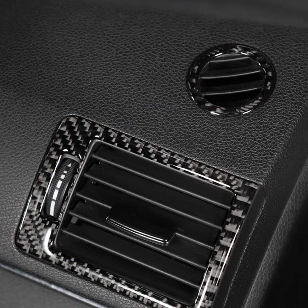 2pcs Air Condition Vent Outlet Ring Decoration Trim Cover for C-Class W204 05-12 Aramox Carbon Fiber Interior Decor