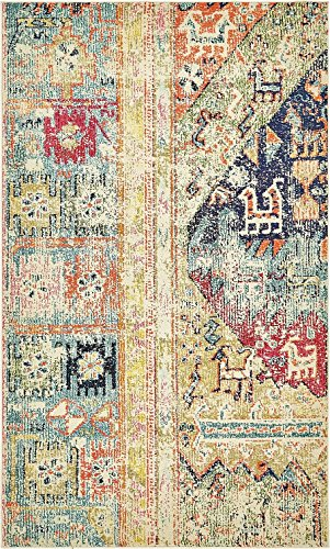 Vintage Modern and Traditional Rugs -Feet Troezen Collection Area Rug (5' x 8'-Feet, Multi, Blue, Gold, Green, Navy Blue, Olive, Orange, Purple, Red)