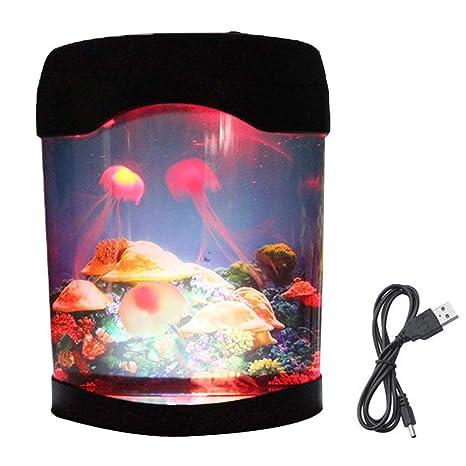 Rventric Medusa lámpara Acuario Cambio de Color, luz de la Noche natación iluminación del Estado