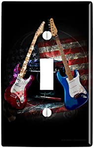 GRAPHICS & MORE Electric Guitars American USA Flag Rock and Roll Red White Blue Plastic Wall Decor Toggle Light Switch Plate Cover