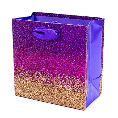 Hallmark Signature 5 Small Gift Bag (Purple, Pink and Copper Ombre Glitter) for Birthdays, Bridal Showers, Retirements or Any Occasion