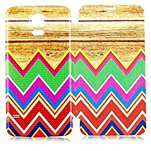 JAJAY- Wood Stripe Pattern PU Leather Full Body Case for Samsung Galaxy S5 I9600