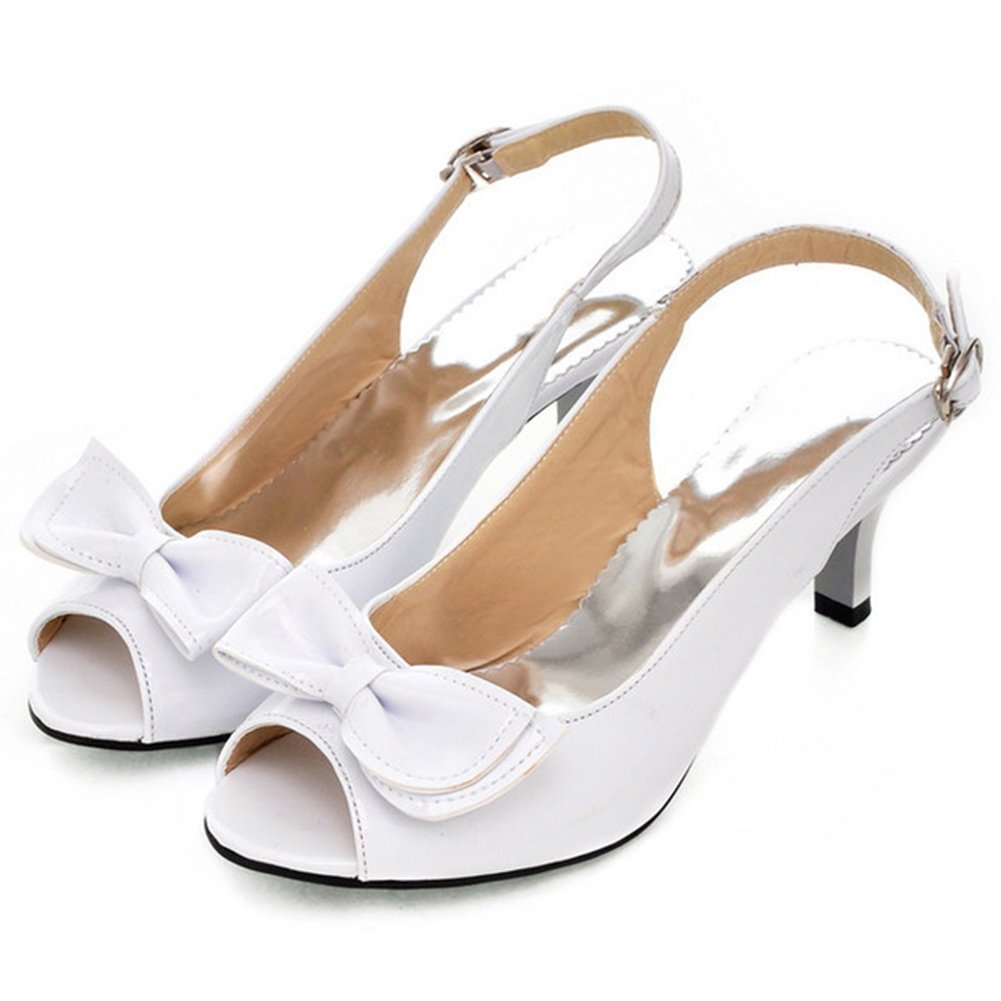 Summerwhisper Women's Sexy Peep Toe Bowknot Buckled Slingback Kitten Heel Patent Leather Sandals White 11.5 B(M) US